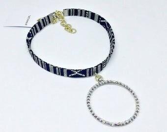 Choker, Black and White choker, Bohemian choker, Bohemian jewelry, Pendant necklace, Crystal pendant, Handmade limited edition jewelry!