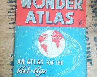 Wonder Atlas, 'An Atlas of an air age' vintage Atlas 1960's