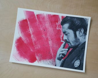 Original - Toshiro Mifune - Yojimbo - Acrylic Stencil painting on 300g watercolour paper - 11 by 15 in