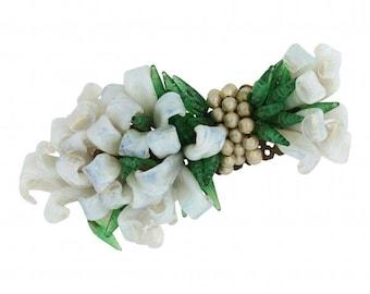 Louis Rousselet 1940s Vintage Glass Flowers Brooch