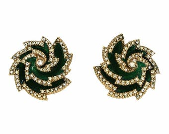 Ciner 1970s Vintage Enamel and Rhinestone Earrings