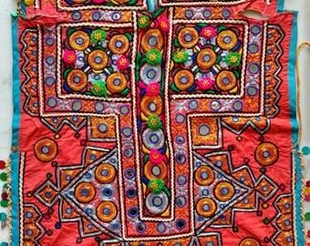 Vintage banjara Hand embroidered zari work Dress material, Gypsy boho dress fabric
