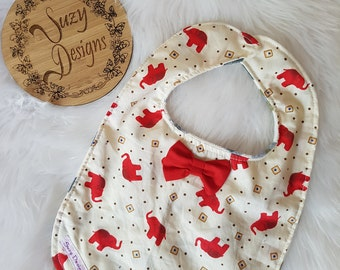 Elephant print bib with bowtie