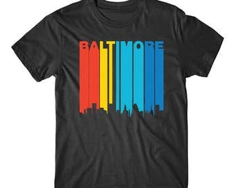Retro 1970's Style Baltimore Maryland Downtown Skyline T-Shirt