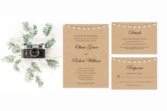 Rustic wedding word invite ,INSTANT DOWNLOAD, Editable Wedding template invitation. Microsoft Word template.Wedding Printable