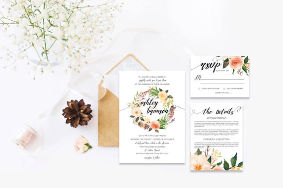 Flower wedding invite_4,Printable Wedding Invitation Suite,Wedding Invite Set,Wedding Printable,Calligraphy