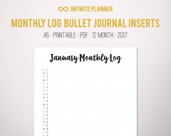 Monthly Log A5 (2017) - Bullet Journal Printable PDF