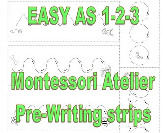 Montessori pre-writing, DIY, Digital, Printable, PDF, Pre-Writing strips, fine motor activity, writing