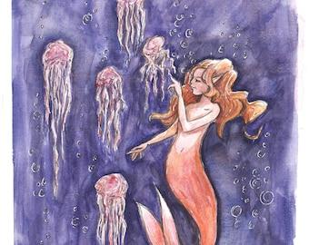 mermaid and jelly fish hand made art print.