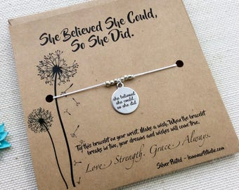 Graduation Gift She Believed She Could So She Did Bracelet College Graduation Gift For Her Grad Gift For Friend Inspirational Quote
