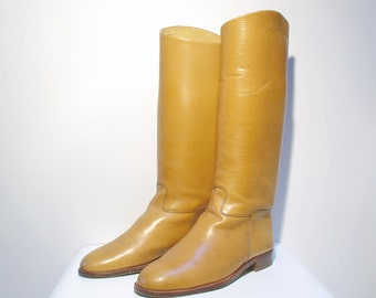 Vintage Leather Boots Italian Made Calf Length Riding Dress Boot Men's Size 8 Frank Moore 1970's