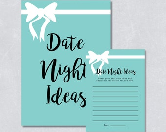 Date night ideas / Bridal shower game / Bridal and co theme / Light blue color / White Ribbon / DIY Printable / INSTANT DOWNLOAD
