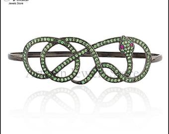 Gemstone Tsavorite Bangle Pave Jewelry, 925 Sterling Silver Gemstone Jewelry