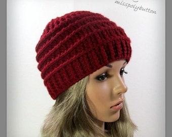 Red crochet beanie - textured crochet hat - womens beanie - beanie hat - red hat - winter accessories