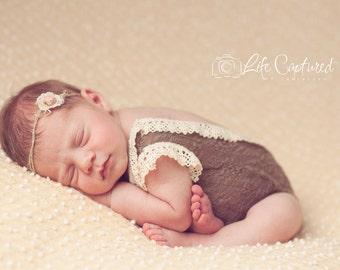 Lace One-piece Prop, brown cotton stretch lace, photography prop, newborn photo prop