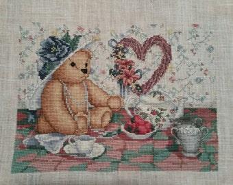 "Finished Cross Stitch ""Teddy Bear Tea Party"""