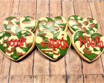 Army Cookies - Camouflage Cookies - Welcome Home Cookies - Heart Cookies - Welcome Home Gift - Army Party - Decorated Cookies - Sugar Cookie