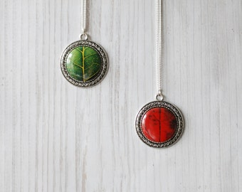 Green Red Leaf Necklace Nature Inspired Jewelry Wearable Art Photo Pendant