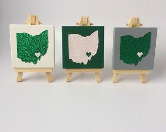 "3"" x 3"" Ohio University Ohio silhouette mini canvas with 5"" easel"