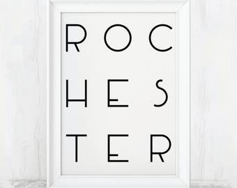 Rochester print, Rochester Poster, Rochester Art, Rochester Poster, Rochester Print, Rochester Art Print, Rochester Gift, Rochester Wall Art