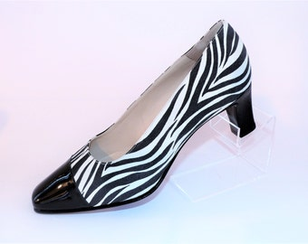 Bally Black & White Suede Zebra Pattern with Black Patent Leather Tips High Court Pumps Shoes/Size UK 5.5/Retro shoes/1990's