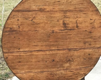 19th Century Heart of Pine, French Wine Tasting Table , Large Top