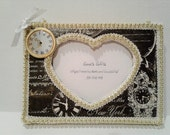 Paper Mache Shabby Chic Fridge Frame-Black & Cream