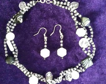 Black, White, & Clear Choker w/ matching earrings