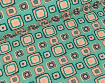STENZO Cotton Jersey retro squares on Mint (13,50 EUR / meter)