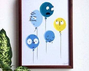 Blue Balloons, A4 Print