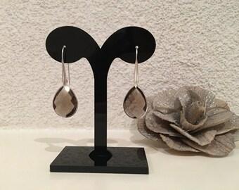Handmade earrings smoky Quartz facet slept with gemstone, sterling silver (925)