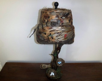 Twigggy Tree with vintage feathered hat shade light