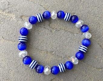 Blue/White Beaded Bracelet