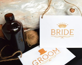 Wedding Bride Groom Chair Signs - Gold or Silver - Tops of Melbourne