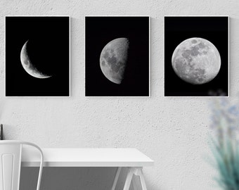 3 set poster A4, phases of the Moon, black and white, wall pictures
