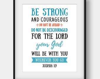 60% OFF Bible Verse Print, Joshua 1:9, Christian Decor, Be Strong And Courageous Do Not Be Afraid, Bible Verse Poster, Printable Scripture