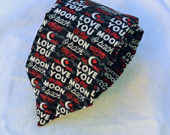 Love You to the Moon and Back Necktie, Valentine Necktie, Moon Necktie, Black Necktie, Love You Necktie, Word Necktie, Hearts and Moons