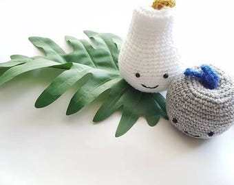 MADE TO ORDER - Crochet Amigurumi Fruit - Pear Apple Cherry plush nursery decor