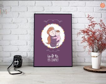Poster mom & son | New mother | Press | Customizable Illustrations | Decorate kids room | Newborn | mother's day