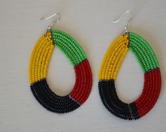 African Maasai Beaded Earrings | Beaded Hoop earrings | Multicolor Earrings | Gift for Her | African Beaded Earrings | Designer Earrings.