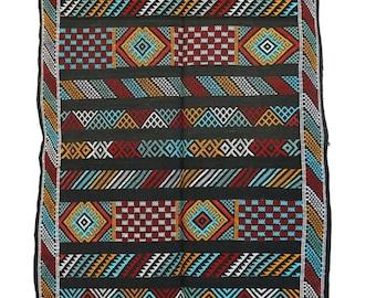 "CACTUS SILK, 2'11"" x 4'9"" Cactus Silk Kilim Rug, Kilim, Sabra, Moroccan Kilim."