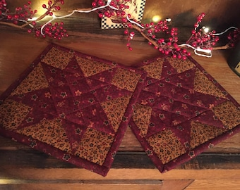Pot Holders/Kitchen/Hot Pads/Handmade/Quilted/Primitive/Star/Country Decor Item #169
