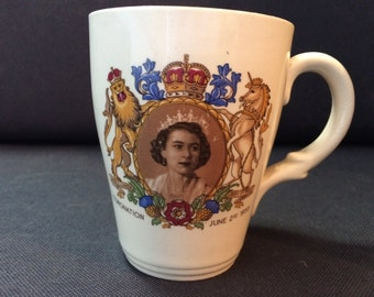 Elizabeth II Coronation mug English Crown Clarence Queen 1953, Collectible Mug, English Royal Family, Royal Souvenir, 1950s Queens Cup,
