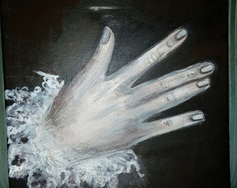 """Acrylic painting on canvas """"The Victorian hand"""" old antique painting"""