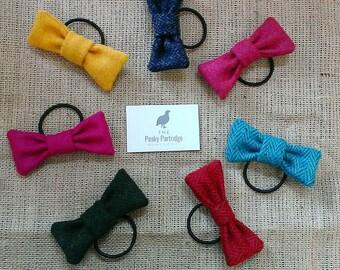 Tweed hair bobble, tweed bow, hair bow, hair elastic, girls hair tie.