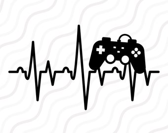 Game Control Heartbeat SVG, Video Game SVG, Heartbeat SVG Cut table Design,svg,dxf,png Use With Silhouette Studio & Cricut_Instant
