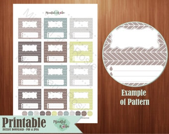Printable Essential Oil Labels - 10ml Rollerball Herringbone Pattern Design in Natural Colors