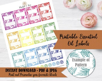 Printable Essential Oil Labels - 10ml Rollerball Labels Palm Leaf Pattern in Bright Rainbow Colors