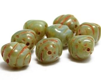Czech Picasso Beads - Czech Glass Beads - Czech Oval - Oval Beads - Cocoon Oval - Czech Beads - Glass Beads - 8pcs (744)