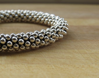 Sterling Silver Crochet Bracelet - 3mm Beads